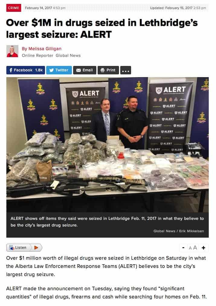 $!M in drugs seized in Lethbridge's largest seizure article image.