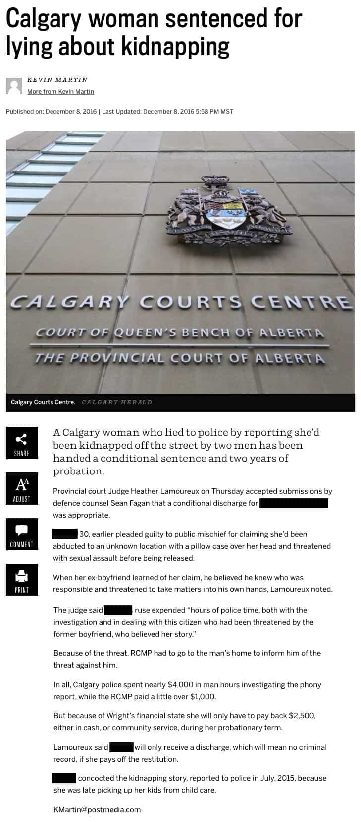 Calgary woman sentenced for lying about kidnapping article image.